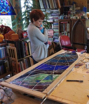 The stained glass process (photo by P M Medlock Johnson)