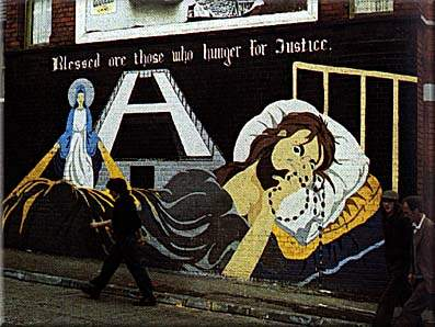 Virgin Mary watches over a hunger striker