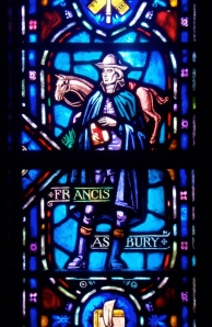 Stained glass window of Francis Asbury installed at The Upper Room, Nashville, Tennessee.