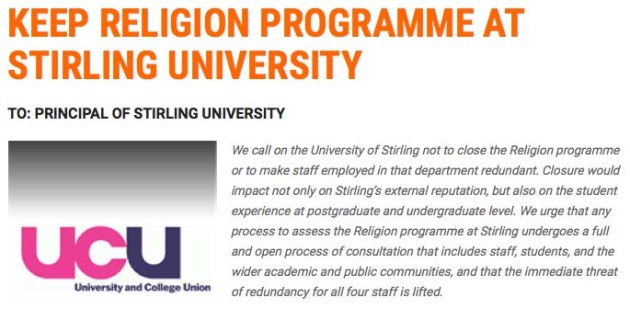 UCU petition to University of Stirling Principal