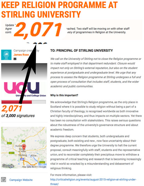 As of 23. October 2015, 2071 people had signed the UCU Scotland petition.